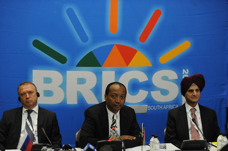 ( Russia Sergey Katryrin, SA Patrice Motespe, India Onkar Kanwar ) Chairmen of the BRICS countries during the media briefing at the first meeting of the BRICS Business Council held at the Sandton Convention Centre, Johannesburg. 20/08/2013